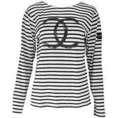 Chanel Black & White Stripe CC Uniform Top Sz L