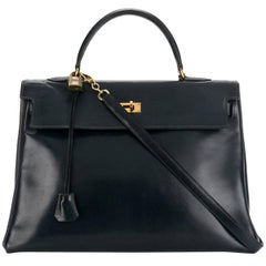Hermes Navy Box Calf Kelly 35cm Tote Bag
