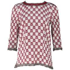 Isabel Marant Cream & Red Silk Beaded Top Fz Fr 40