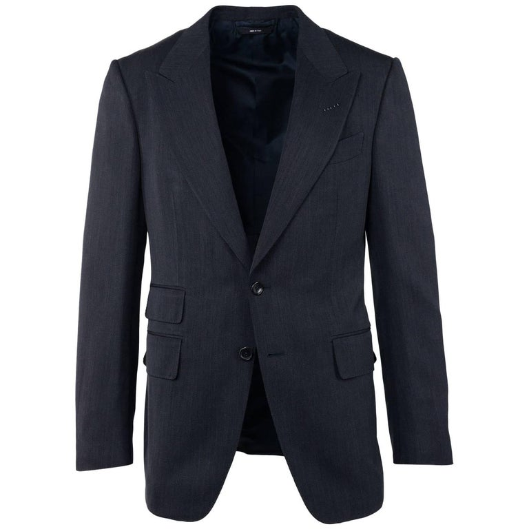 Tom Ford Grey Wool Micro Striped Baste Shelton Two Piece Suit