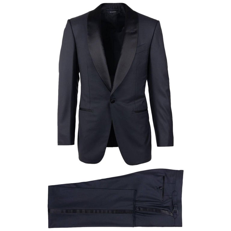 Tom Ford Black Wool Shawl Lapel Windsor Two Piece Tuxedo Suit