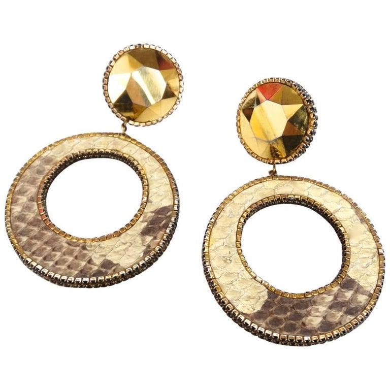1980 Deanna Hamro Python Hoop Earrings  For Sale