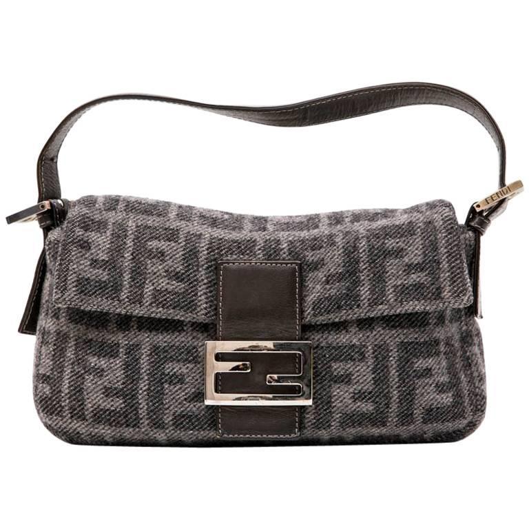 Fendi Baguette Bag In Gray Monogram Wool For