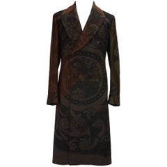 New Etro Runway Men's Wool Graphic Design Print Coat  52