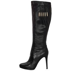 Versace Black Leather Boots Sz 38.5