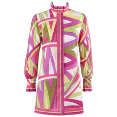 "EMILIO PUCCI c.1969 ""Arcate"" Signature Print Pink Op Art Button Up Mini Dress"