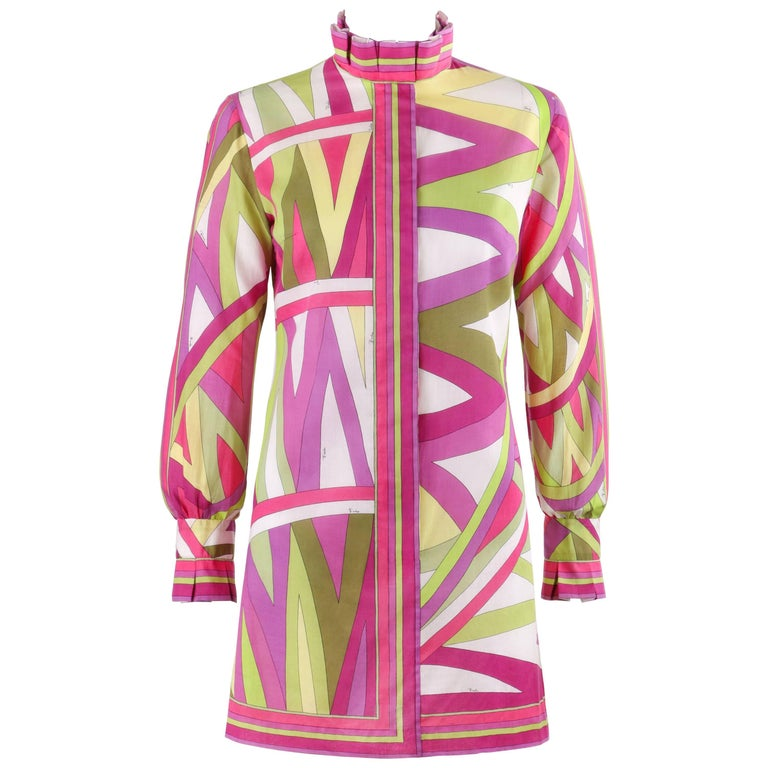 """EMILIO PUCCI c.1969 """"Arcate"""" Signature Print Pink Op Art Button Up Mini Dress"""