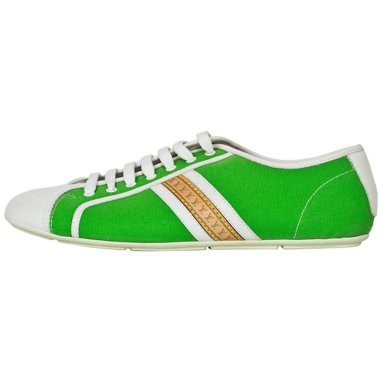 Louis Vuitton White Leather & Green Canvas Sneakers Sz 38 NEW