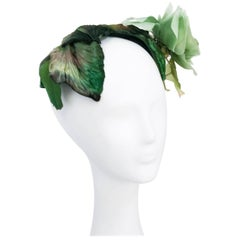 1950's Green Cocktail hat With Green Silk Flower