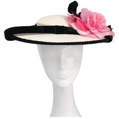 1950s Sunt hat with Black Velvet trim and Silk Flower