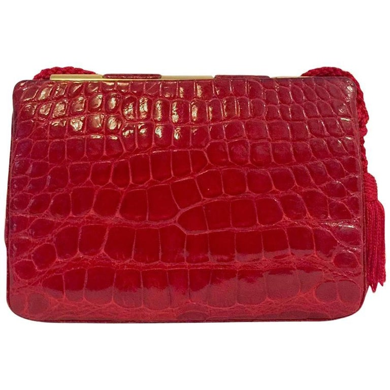 Judith Leiber Vintage Red Alligator Bag with Gold Tone Hardware and Red Tassels