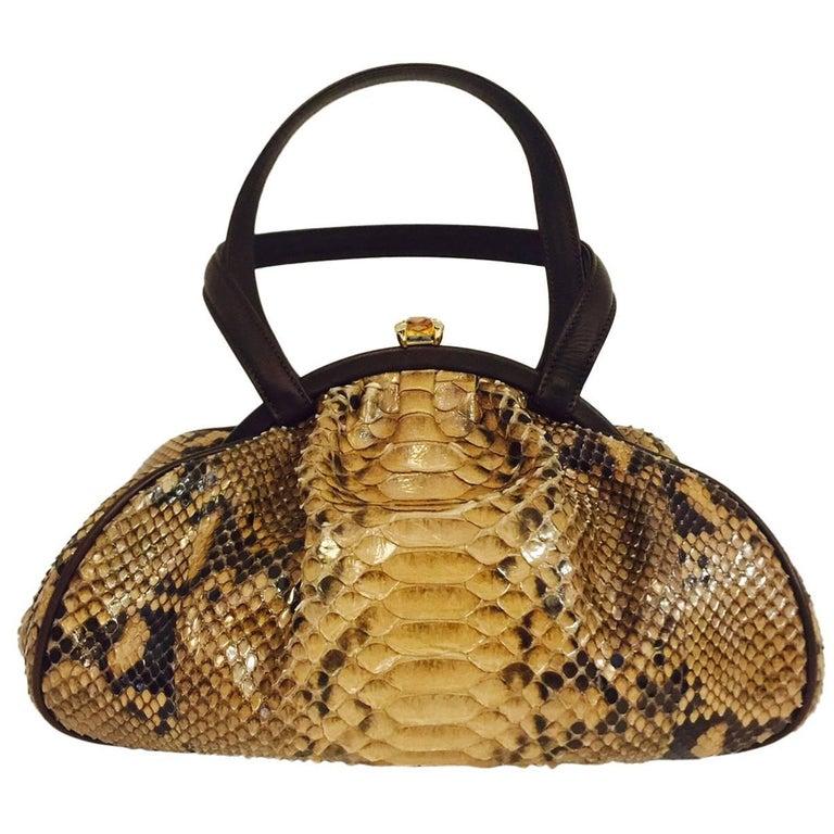 Judith Leiber Gathered Python Frame Hand Bag With Swarovski Crystal Feet For Sale