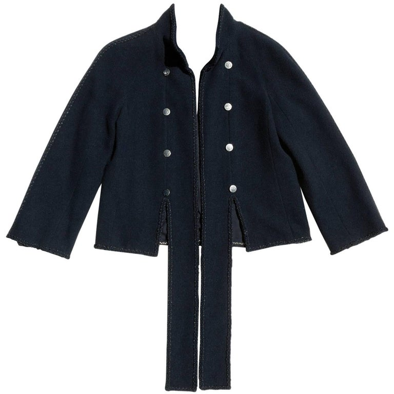 Chanel Short Navy Jacket With Ties