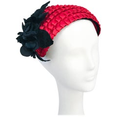 1950's Red Woven Straw Cocktail Hat with Black Velvet Flower