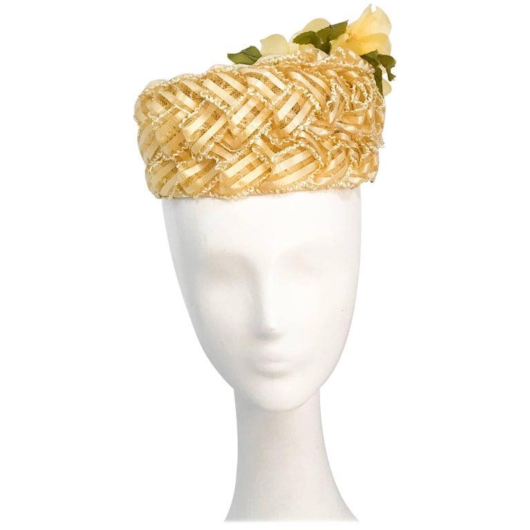 Yellow Raffia and Straw Ribbon Pillbox hat with Silk Flowers, 1960s
