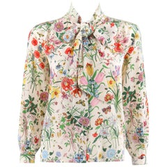 "GUCCI c.1970s Iconic ""Flora"" Print White Silk V Neck Pussy Bow Blouse Top"