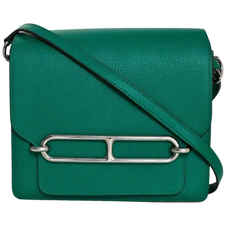 Hermes Green Evercolor Mini Sac Roulis Crossbody Bag, 2017
