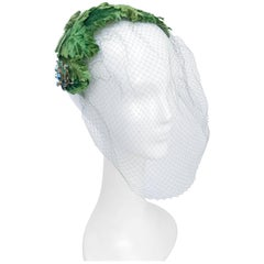 1950s Av0cado Green Velvet Cocktail Hat