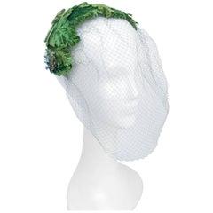 1950s Av0cado Green Velvet Cocktail Hat
