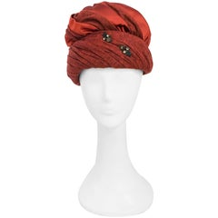 1960s Rust Jersey and Satin Turban with Rhinestone Embellishment