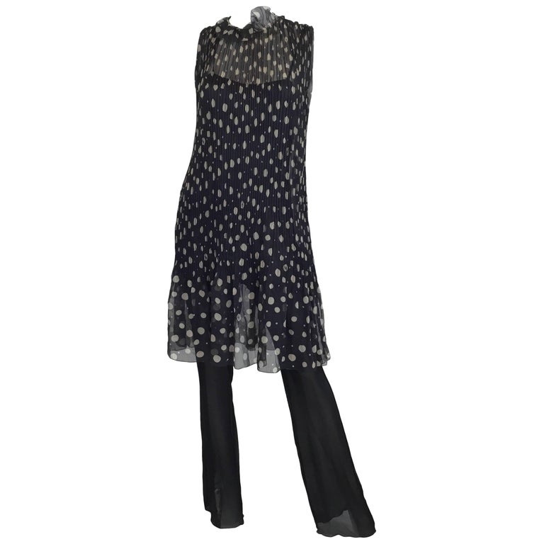 Chanel Chiffon Polka Dot Dress and Jumpsuit, 2000