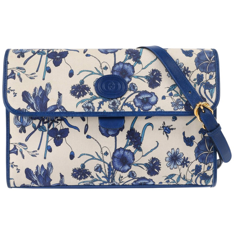 "GUCCI c.1980's Blue Leather & Iconic ""Flora"" Print Canvas Flap Top Purse"