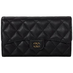 Chanel Black Caviar Leather Quilted Large Flap Wallet with Box & Dust Bag