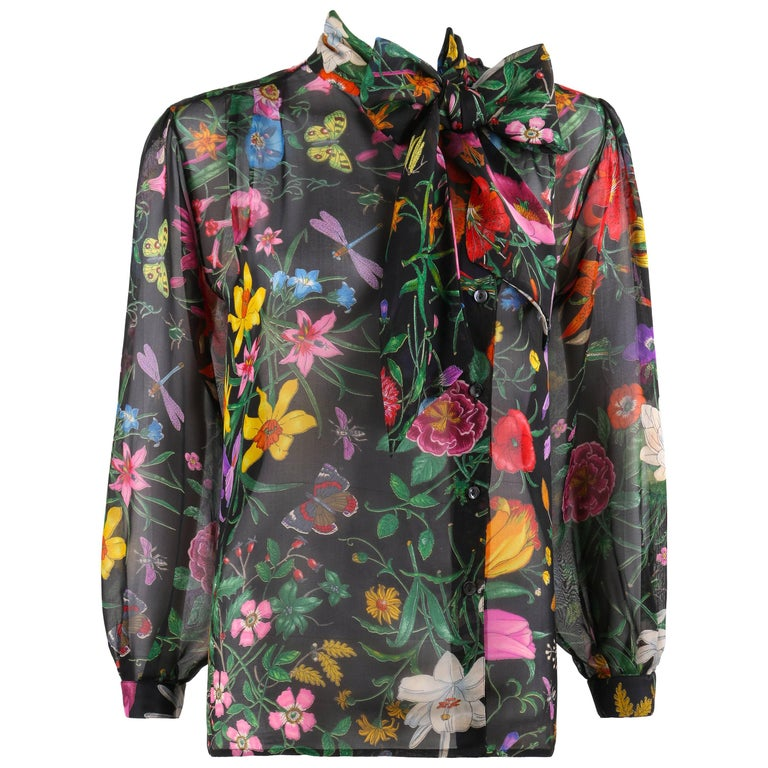 "GUCCI c.1970s Iconic ""Flora"" Print Black Silk Chiffon Pussy Bow Blouse Top"