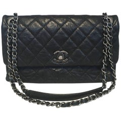 Chanel Quilted Black Aged Calfskin Single Flap Classic Shoulder Bag
