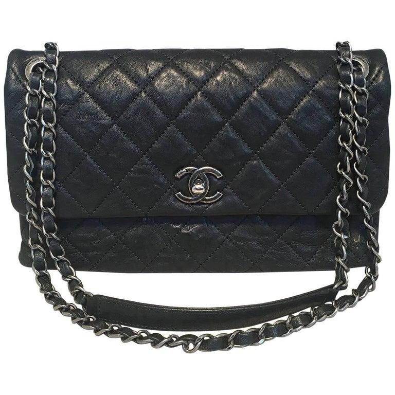 Chanel Quilted Black Aged Calfskin Single Flap Classic Shoulder Bag