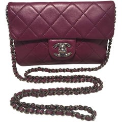 Chanel Purple Quilted Wallet on a Chain WOC Classic Shoulder Crossbody Bag