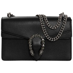 Gucci Black Leather Small Crystal Dionysus Flap Bag