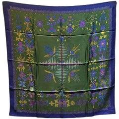 Hermes Vintage Scheherazade Silk Scarf in Green and Blue c1985