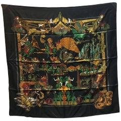 Hermes Au Fin de la Soie Silk Scarf in Black