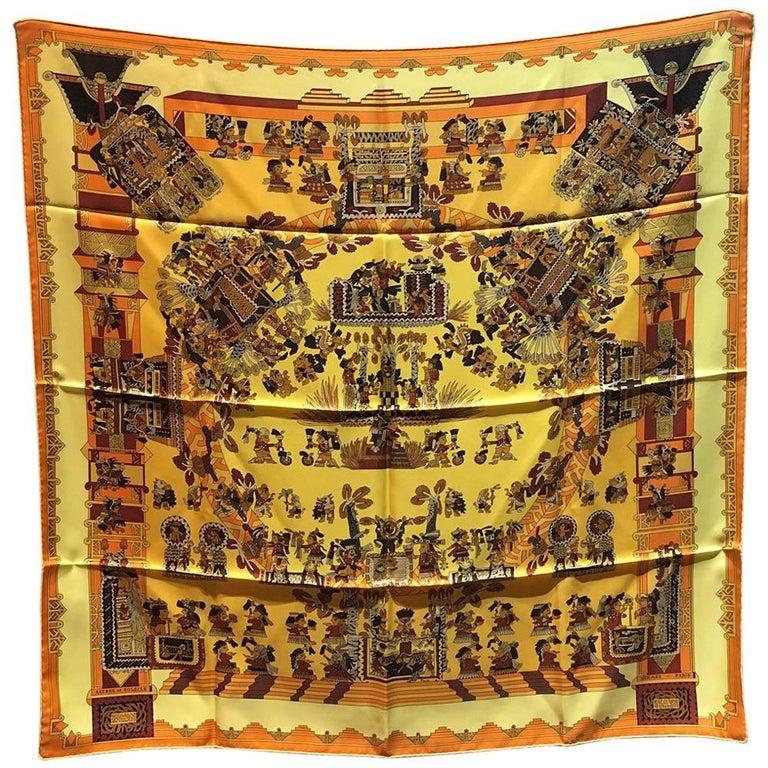 Hermes Vintage Astres et Soleils Silk Scarf in Yellow