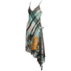 Christian Lacroix Unique Asymmetric Silk Dress with Colorful Print + Embroidery