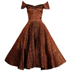 1950s Vintage Brown Copper Taffeta Embroidered Full Circle Sweep Cocktail Dress