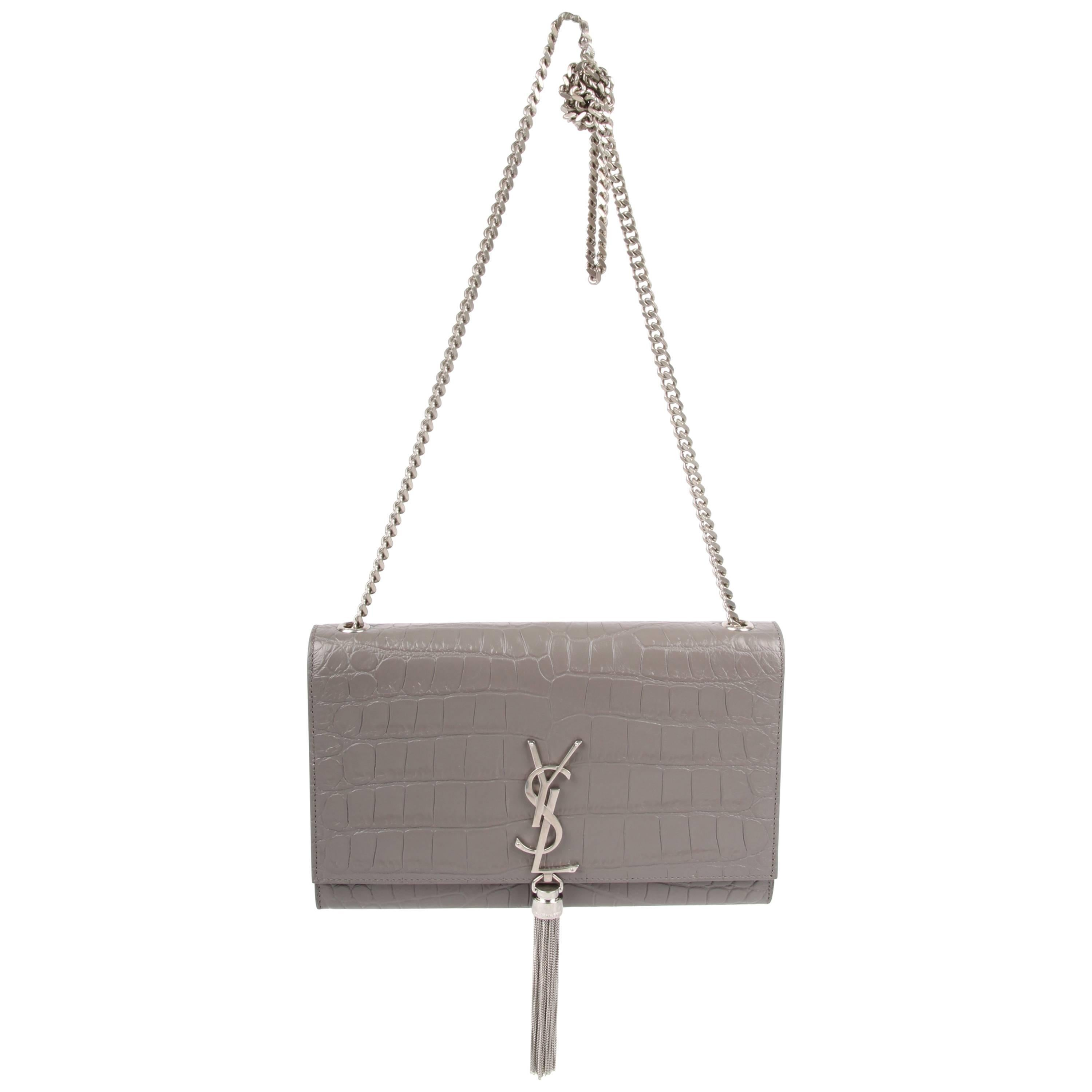 adc44afab28 Yves Saint Laurent YSL Monogram Kate Medium Shoulder Bag - taupe at 1stdibs