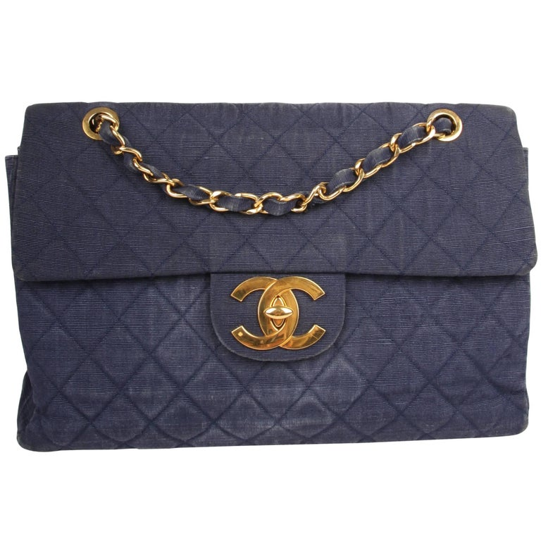Chanel 2.55 Timeless Maxi Denim Single Flap Bag - blue 1991