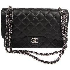 Chanel 2.55 Timeless Jumbo Flap Bag - black/silver