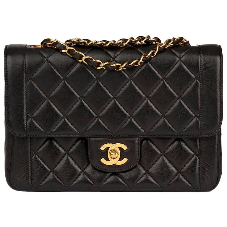 Chanel Black Quilted Lambskin Vintage Classic Single Flap Bag, 1990s  For Sale