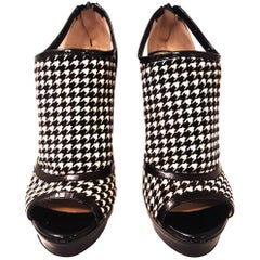 Jerome C. Rousseau Elli Black Patent  and White Houndstooth Fabric Boots