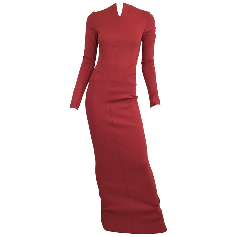 Azzedine Alaia Rust Column Bodycon Dress