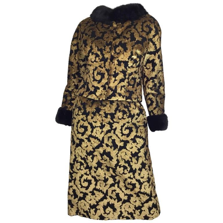 Jean Louis Gold Lamé Dress Jacket Suit, 1960s
