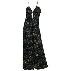 Gucci Green Butterfly Print Jersey Maxi Dress