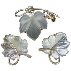 Napier Sterling Frosted Glass Leaf Brooch & Earrings circa 1960