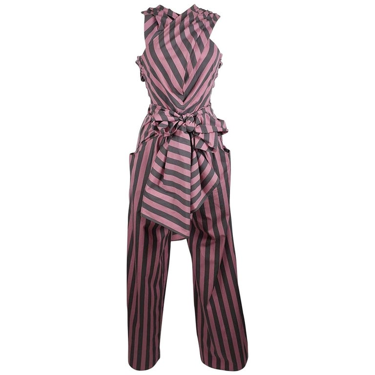 Tome Amal's Sexy Stripe Tie Waist Jumpsuit For Sale