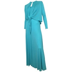 Scott Barrie 1970s Turquoise Disco Maxi Jersey Dress Size 4.