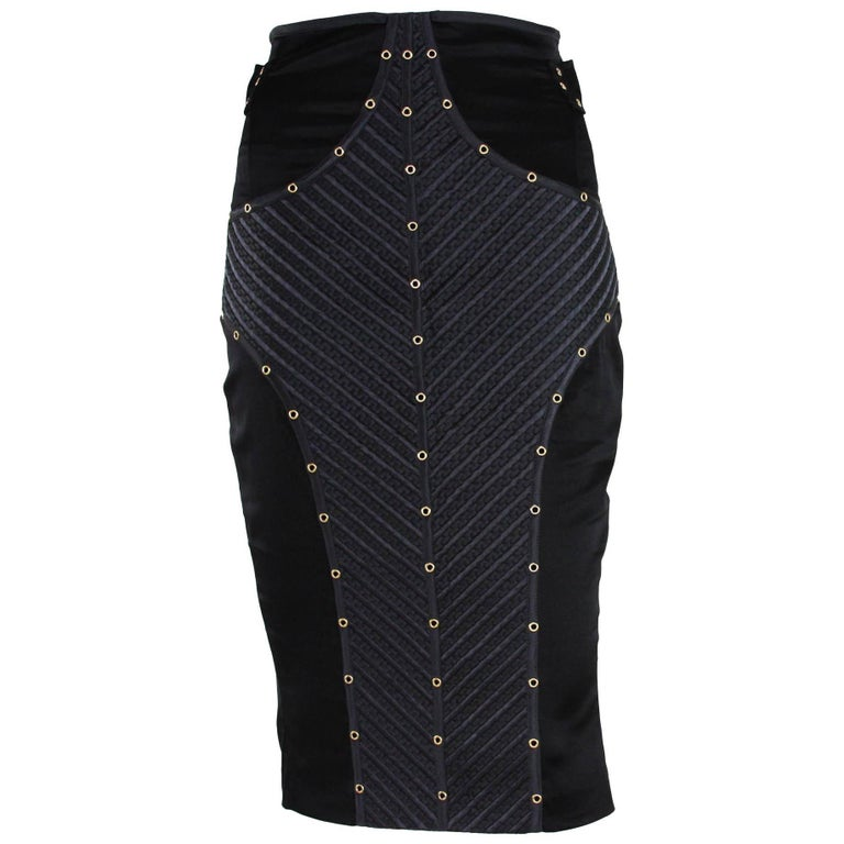 Tom Ford for Gucci F/W 2003 Runway Studded Silk Corset Black Skirt It. 38