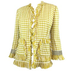 Dolce & Gabbana Houndstooth Jacket with Crystal Cuffs and Leopard Lining